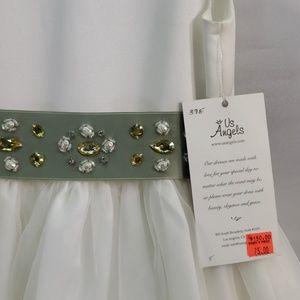 Us Angels Dresses - US ANGELS FLOWER GIRL DRESS SATIN AND ORGANZA